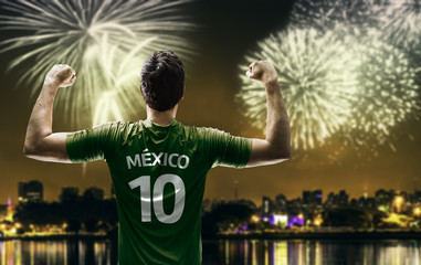 Mexican fan celebrates the victory after the match