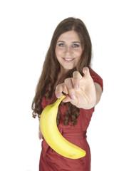 Junge Frau mit einer Banane