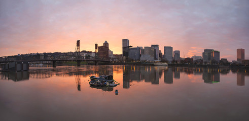 Sunset Over Willamette River in Portland