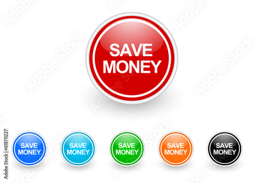 save money icon vector set