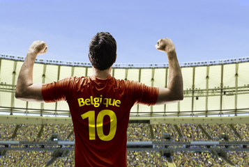 Belgian soccer player celebrates on the stadium with the fans
