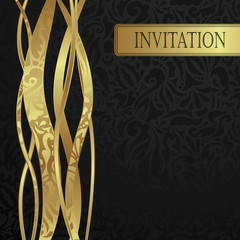 Stylish invitation with gold floral ribbons