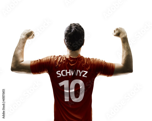 Swiss soccer player celebrates on white background