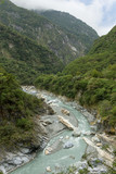 Steep mountains and river at the Taroko National Park in Taiwan