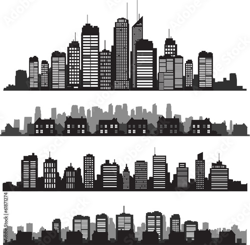 Set of vector cities silhouette and buildings