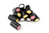 Liquorice pencils candy filled with fondant