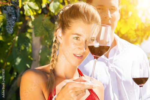 Frau und Mann im Weinberg trinken Wein