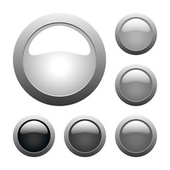 vector gray glass buttons