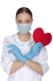 Doctor holding a crisscross heart and syringe