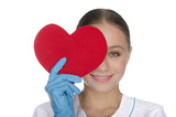 Smiling doctor right eye covered with heart symbol