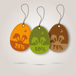 vector set of three easter day celebration shopping tags