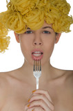 Woman with ringlets of spaghetti and fork