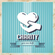 Charity on Blue Striped Background in Flat Design.