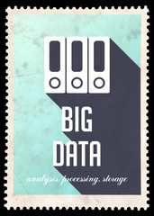 Big Data on Blue in Flat Design.