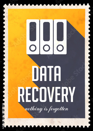 Data Recovery on Yellow in Flat Design.
