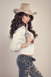 Beautiful brunette cowgirl.