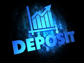 Deposit Concept on Dark Digital Background.