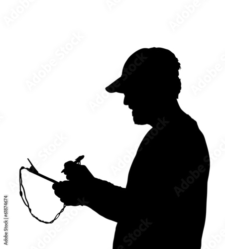 Man Holding and Writing on Clipboard
