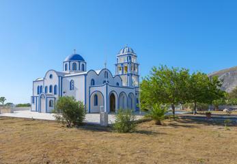 greece Santorini island in cyclades traditional view of church w
