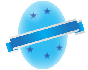 Blue Easter Egg with a Sash