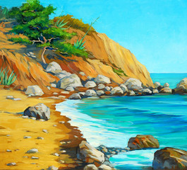 mediterranean sea with a beach and  bay, painting by oil on can