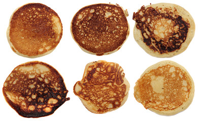 pancakes isolated on a white background. Set.