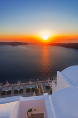 Greece Santorini island Oia sunset, view above caldera with sea