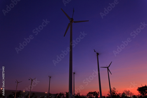 Wind turbines at sunset