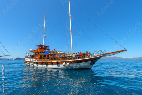 greece Santorini island in cyclades traditional view of wooden y