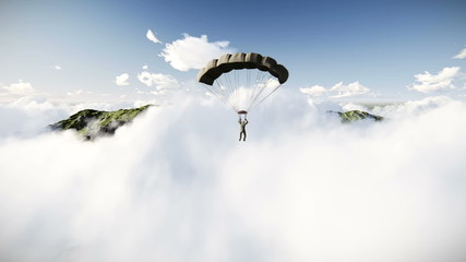 Parachutist landing between misty mountains