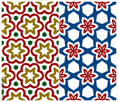Set of Two Seamless Floral Patterns