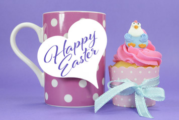 Happy Easter chicken cupcake with pink coffee mug