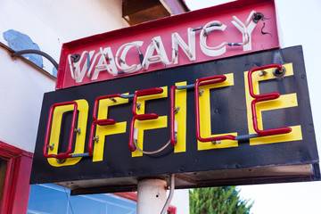 Vintage neon vacancy office sign