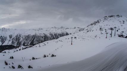 Ischgl ski resort bad weather fish eye  time lapse