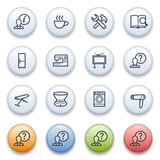 Contour internet icons on color buttons.