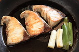japanese cooking, Yellow tail on pan with teriyaki sauce