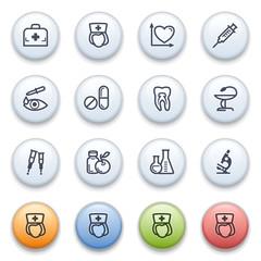 Medicine contour icons on color buttons.