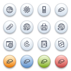 Contour web icons on color buttons.