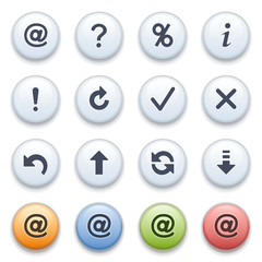 Symbols for web on color buttons.