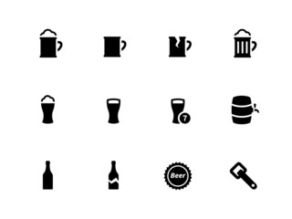 Beer icons on white background.