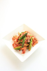 Korean food, Kimchi and pork stir fried with asparagus