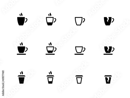 Coffee cup and Tea mug icons on white background.