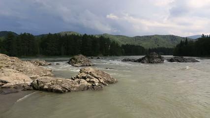 Beautiful summer landscape mountain river Katun. Timelapse View.