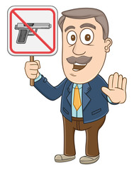 Businessman holding no gun sign