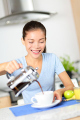 Woman eating breakfast and drinking coffee