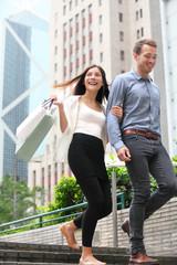 Couple shopping walking happy in Hong Kong