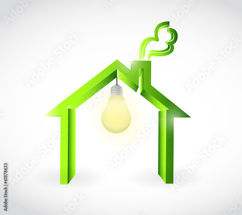 home and light bulb illustration design