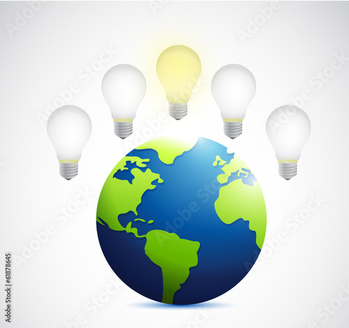 ideas over a light bulb illustration design