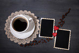 Composition with coffee cup, decorative hearts and old blank