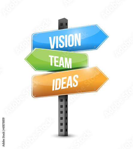 vision, team ideas sign illustration design